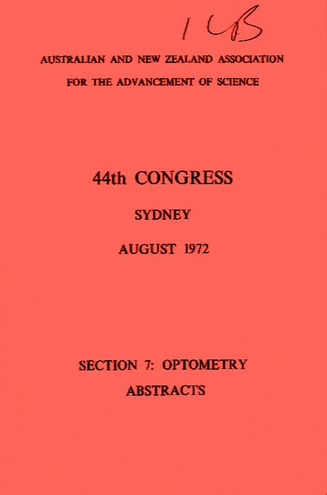 44th Congress, Sydney, Section 7 Optometry Abstracts